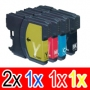 Compatible Brother LC-39 Ink Cartridge Set (2BK,1C,1M, 1Y) Pack of 5