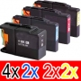 Compatible Brother LC-73 Ink Cartridge Set (4BK,2C,2M, 2Y) Pack of 10