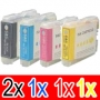 Compatible Brother LC-57 Ink Cartridge Set (2BK,1C,1M,1Y) Pack of 5